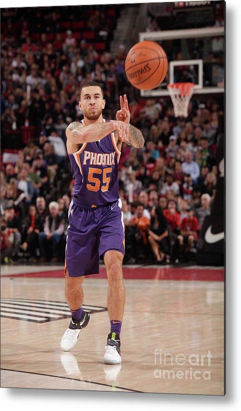 Nba Pro Basketball Metal Print featuring the photograph Phoenix Suns V Portland Trail Blazers by Cameron Browne