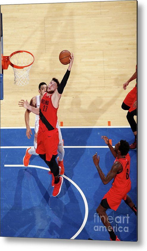 Jusuf Nurkić Metal Print featuring the photograph Portland Trail Blazers V New York Knicks by Nathaniel S. Butler