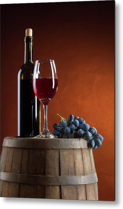 Rose Wine Metal Print featuring the photograph White Wine Composition by Valentinrussanov