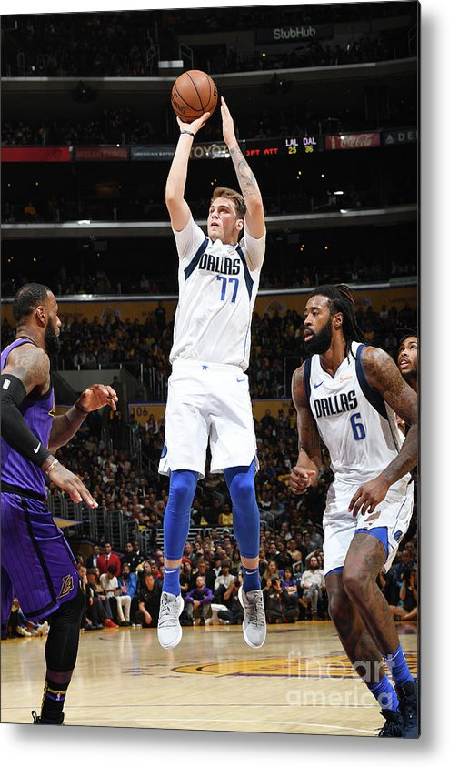 Nba Pro Basketball Metal Print featuring the photograph Dallas Mavericks V Los Angeles Lakers by Andrew D. Bernstein
