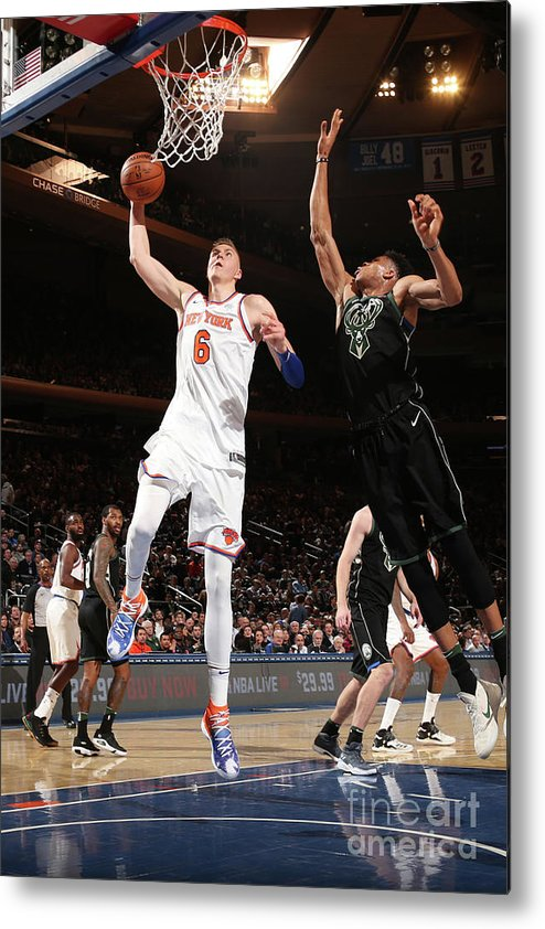 Nba Pro Basketball Metal Print featuring the photograph Milwaukee Bucks V New York Knicks by Ned Dishman