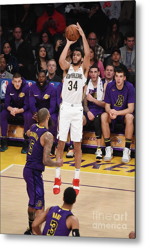Nba Pro Basketball Metal Print featuring the photograph New Orleans Pelicans V Los Angeles by Adam Pantozzi