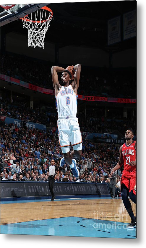 Nba Pro Basketball Metal Print featuring the photograph New Orleans Pelicans V Oklahoma City by Joe Murphy