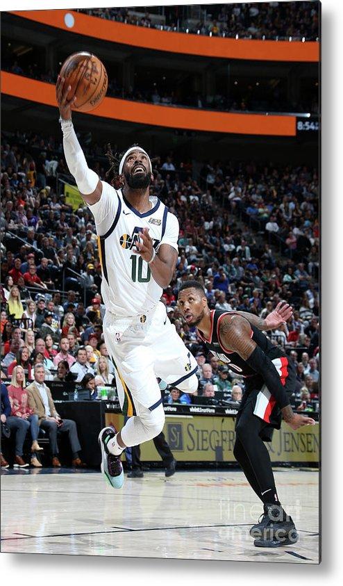 Nba Pro Basketball Metal Print featuring the photograph Portland Trail Blazers V Utah Jazz by Melissa Majchrzak