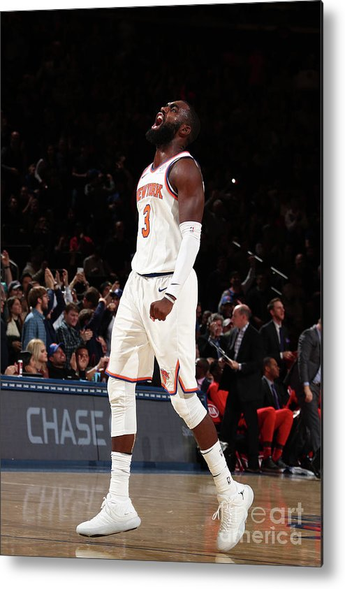 Tim Hardaway Jr. Metal Print featuring the photograph Toronto Raptors V New York Knicks by Nathaniel S. Butler