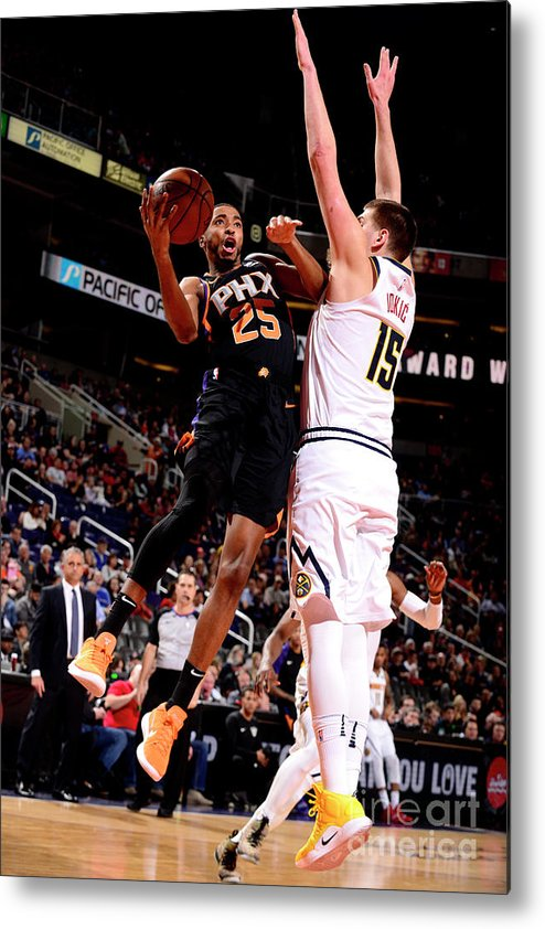 Nba Pro Basketball Metal Print featuring the photograph Denver Nuggets V Phoenix Suns by Barry Gossage