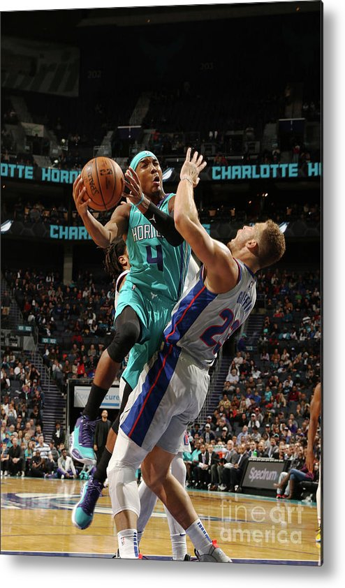 Nba Pro Basketball Metal Print featuring the photograph Detroit Pistons V Charlotte Hornets by Brock Williams-smith