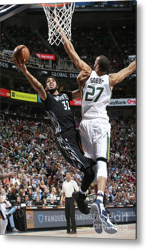 Nba Pro Basketball Metal Print featuring the photograph Minnesota Timberwolves V Utah Jazz by Melissa Majchrzak