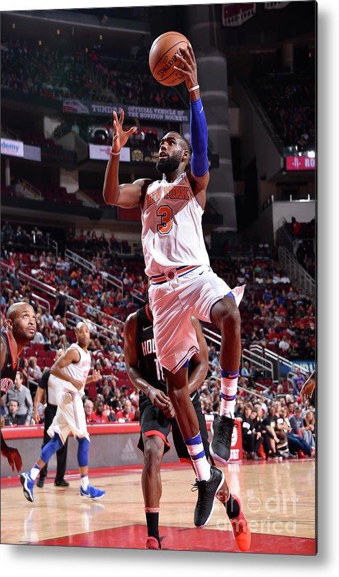 Tim Hardaway Jr. Metal Print featuring the photograph New York Knicks V Houston Rockets by Bill Baptist