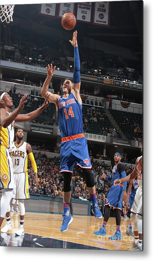 Guillermo Hernangómez Geuer Metal Print featuring the photograph New York Knicks V Indiana Pacers by Ron Hoskins