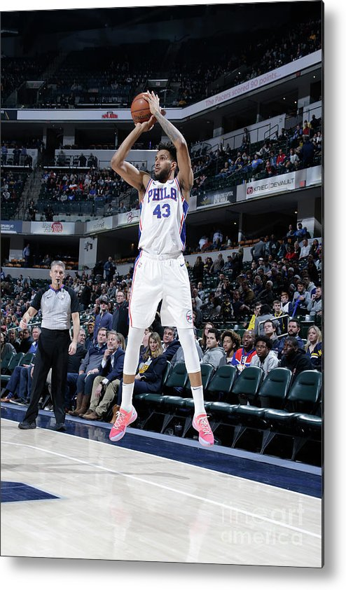 Nba Pro Basketball Metal Print featuring the photograph Philadelphia 76ers V Indiana Pacers by Ron Hoskins