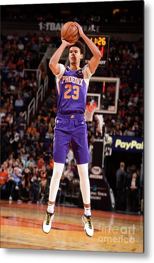 Nba Pro Basketball Metal Print featuring the photograph Brooklyn Nets V Phoenix Suns by Barry Gossage