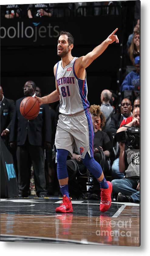 Nba Pro Basketball Metal Print featuring the photograph Detroit Pistons V Brooklyn Nets by Nathaniel S. Butler