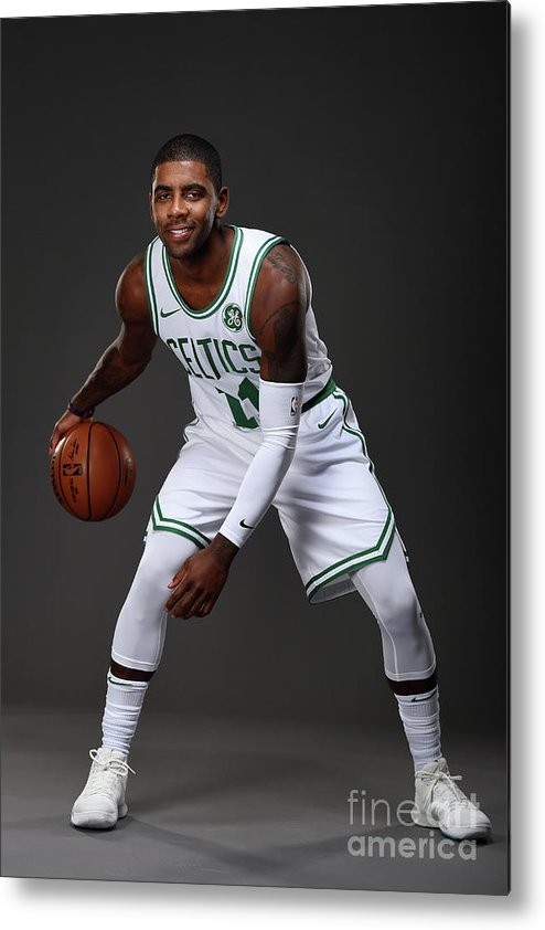 Nba Pro Basketball Metal Print featuring the photograph Kyrie Irving Boston Celtics Portraits by Brian Babineau