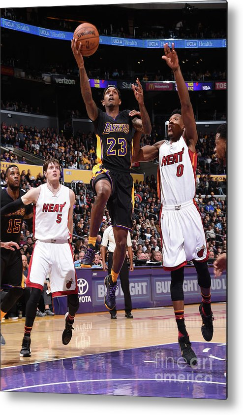 Nba Pro Basketball Metal Print featuring the photograph Miami Heat V Los Angeles Lakers by Andrew D. Bernstein