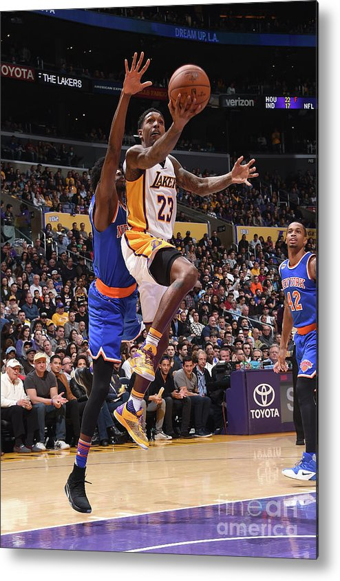 Nba Pro Basketball Metal Print featuring the photograph New York Knicks V Los Angeles Lakers by Andrew D. Bernstein