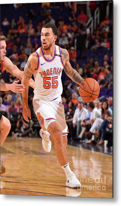 Nba Pro Basketball Metal Print featuring the photograph Portland Trail Blazers V Phoenix Suns by Barry Gossage