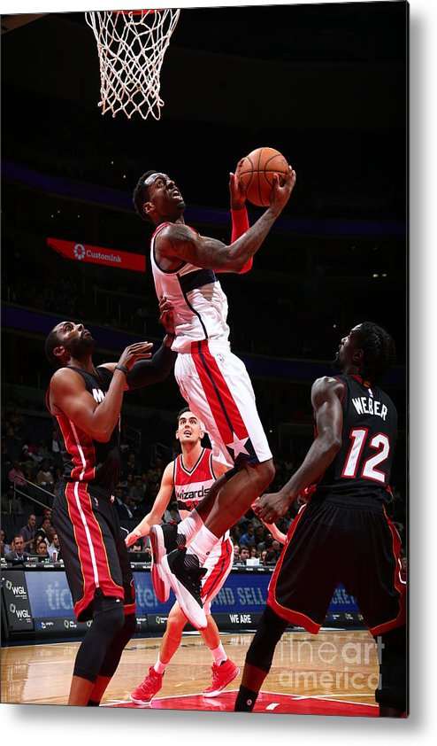 Nba Pro Basketball Metal Print featuring the photograph Miami Heat V Washington Wizards by Ned Dishman