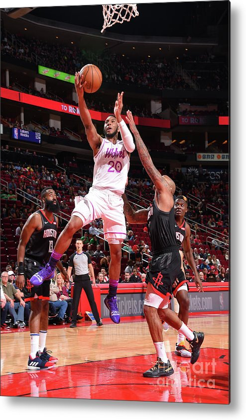 Nba Pro Basketball Metal Print featuring the photograph Minnesota Timberwolves V Houston Rockets by Bill Baptist