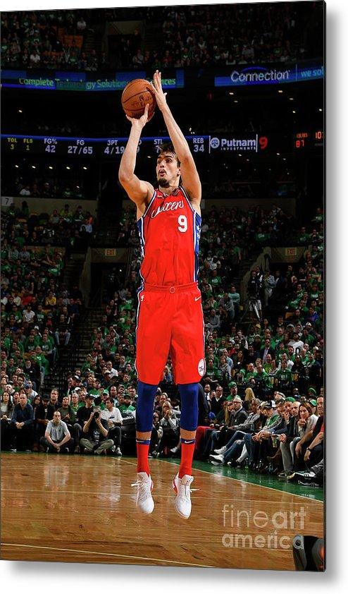 Playoffs Metal Print featuring the photograph Philadelphia 76ers V Boston Celtics - by Brian Babineau