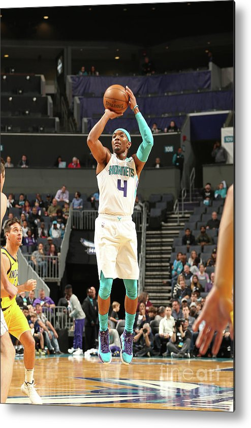 Nba Pro Basketball Metal Print featuring the photograph Indiana Pacers V Charlotte Hornets by Kent Smith