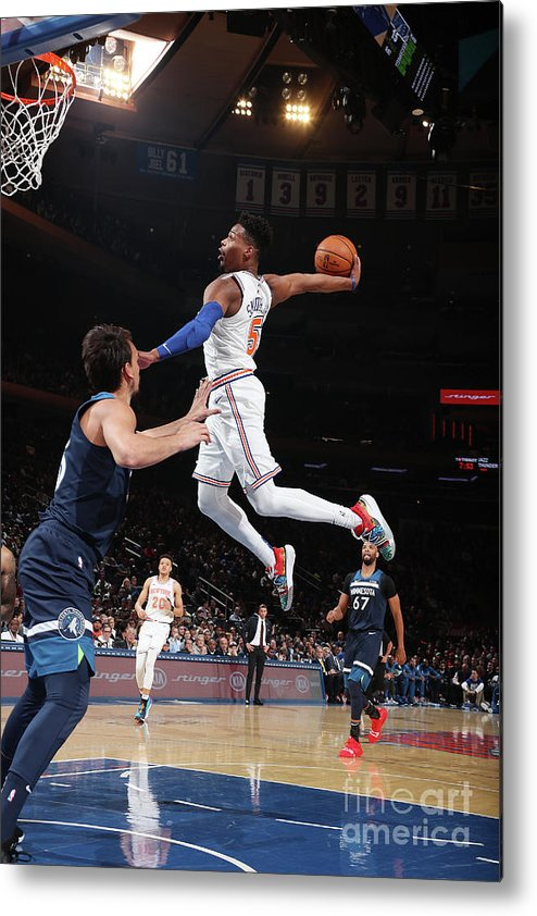 Nba Pro Basketball Metal Print featuring the photograph Minnesota Timberwolves V New York Knicks by Nathaniel S. Butler
