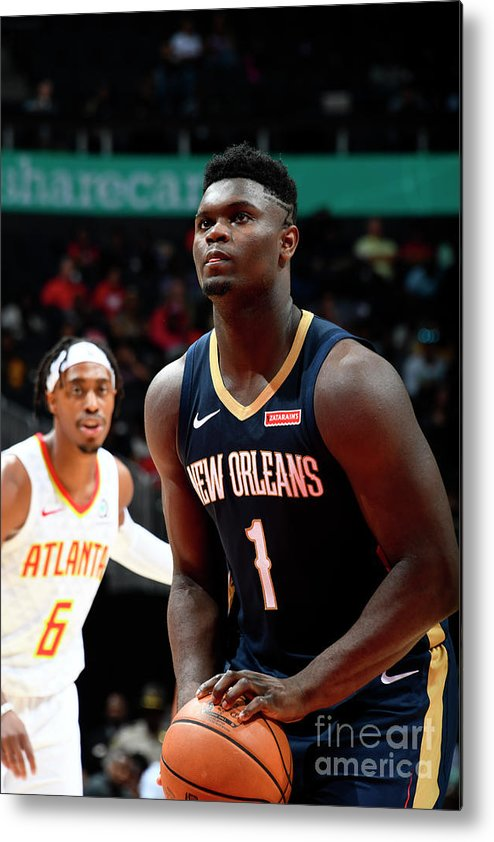 Atlanta Metal Print featuring the photograph New Orleans Pelicans V Atlanta Hawks by Scott Cunningham
