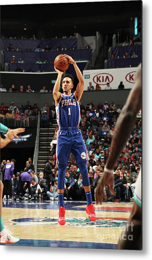 Nba Pro Basketball Metal Print featuring the photograph Philadelphia 76ers V Charlotte Hornets by Kent Smith