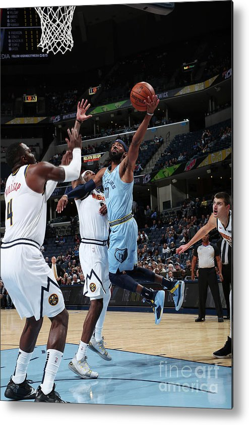 Nba Pro Basketball Metal Print featuring the photograph Denver Nuggets V Memphis Grizzlies by Joe Murphy