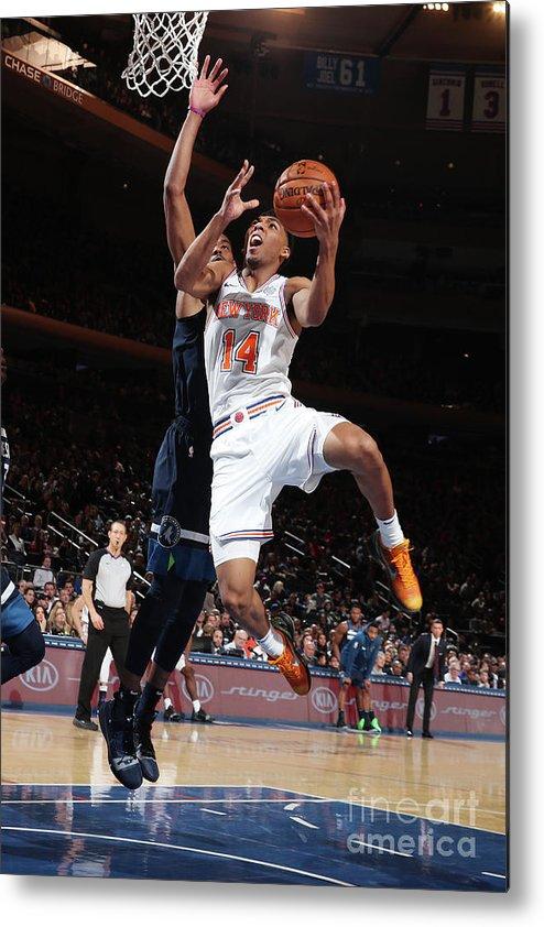 Nba Pro Basketball Metal Print featuring the photograph Minnesota Timberwolves V New York Knicks by Nathaniel S. Butler