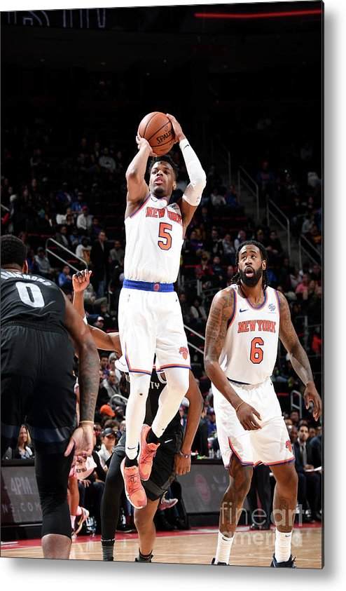 Nba Pro Basketball Metal Print featuring the photograph New York Knicks V Detroit Pistons by Chris Schwegler