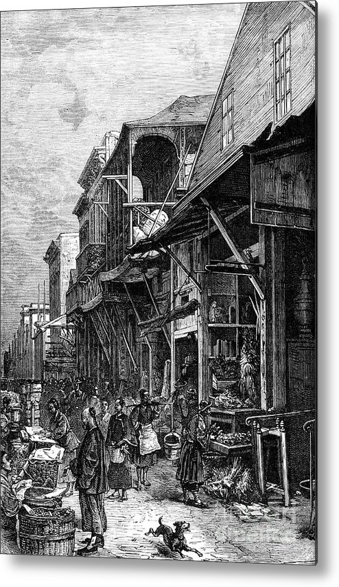 Engraving Metal Print featuring the drawing A Market Place In San Francisco by Print Collector