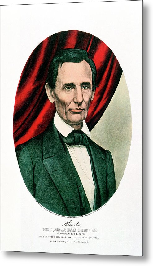 1865 Metal Print featuring the drawing Abraham Lincoln 1809-65, C1865. Artist by Print Collector
