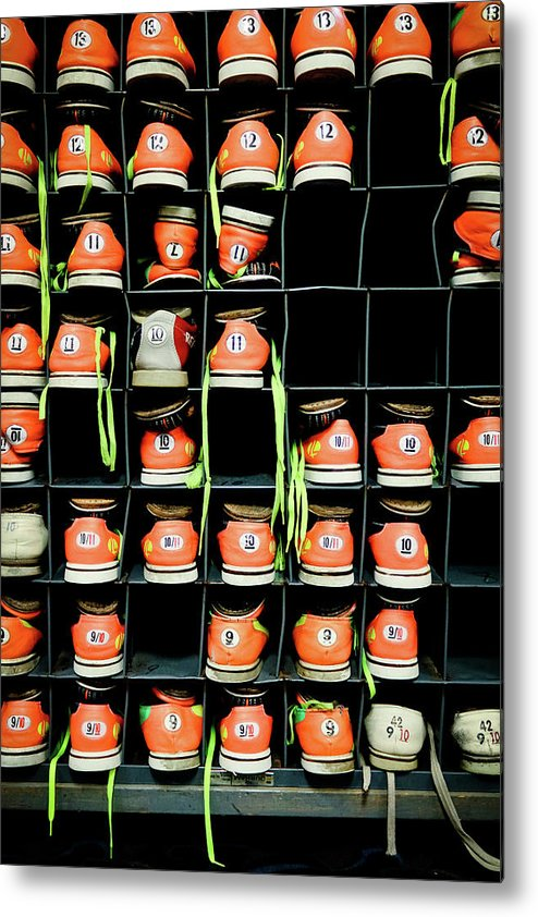 Orange Color Metal Print featuring the photograph Bowling Shoes by Christian Bird