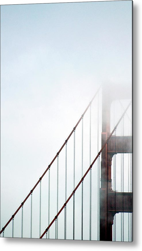 Scenics Metal Print featuring the photograph Bridge In Fog by By Ken Ilio