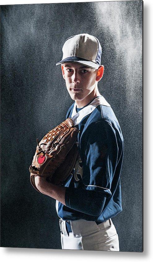 Baseball Cap Metal Print featuring the photograph Caucasian Baseball Player Standing by Erik Isakson