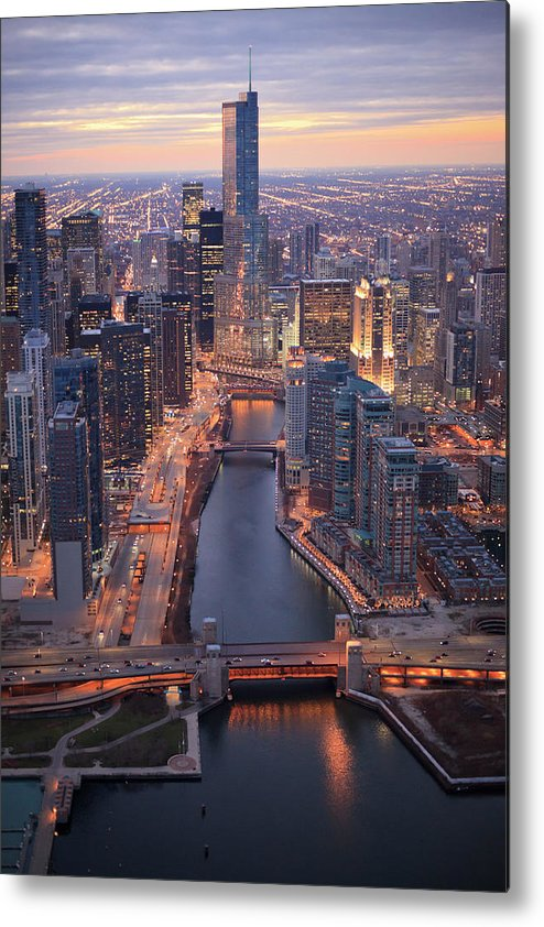 Tranquility Metal Print featuring the photograph Chicago Downtown - Aerial View by Berthold Trenkel