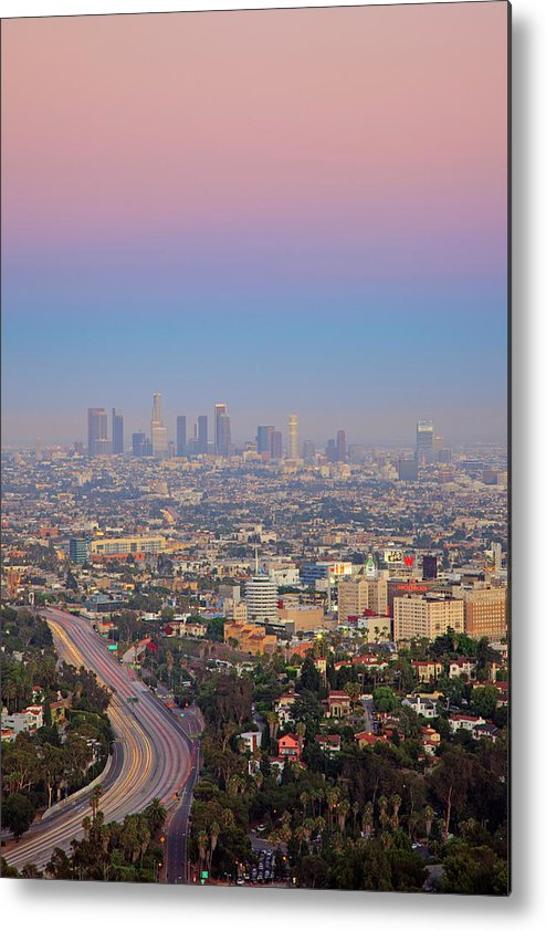 California Metal Print featuring the photograph Cityscape Of Los Angeles by Eric Lo