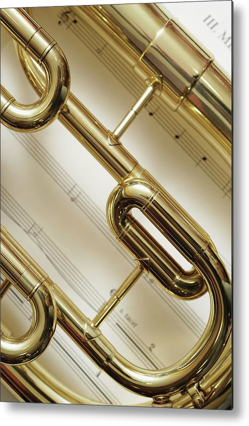 Sheet Music Metal Print featuring the photograph Close-up Of Trumpet by Medioimages/photodisc