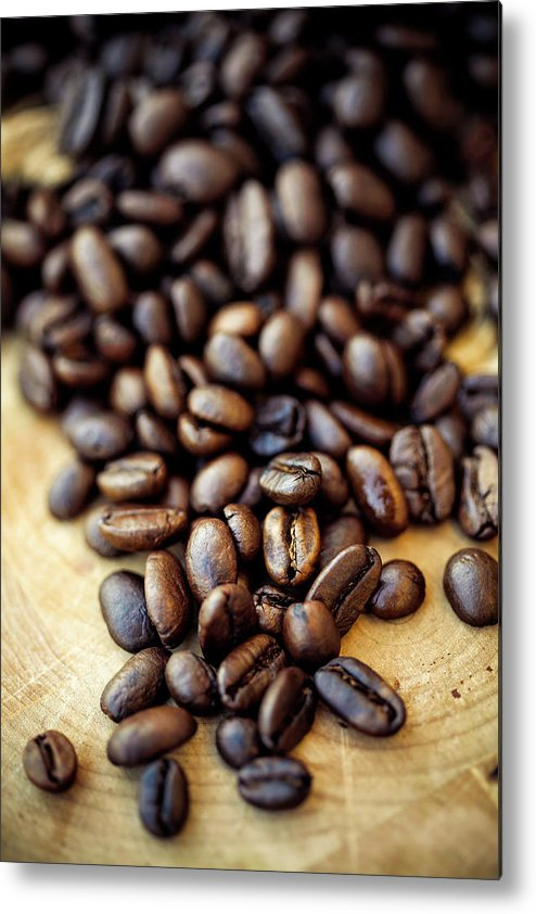Black Color Metal Print featuring the photograph Coffee Beans by Chang