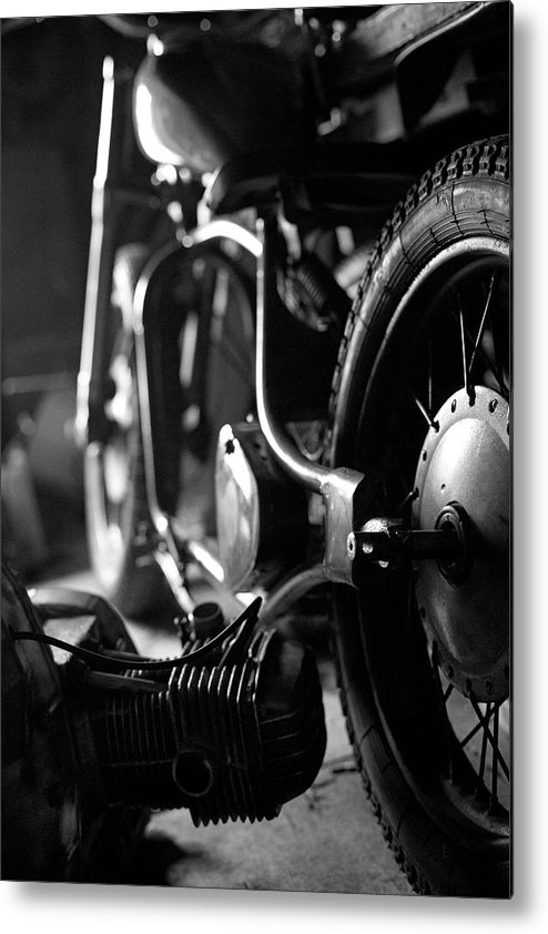 Engine Metal Print featuring the photograph Custom Motorcycle by Alexey Bubryak
