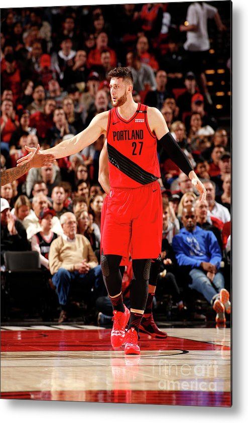 Jusuf Nurkić Metal Print featuring the photograph Dallas Mavericks V Portland Trail by Cameron Browne