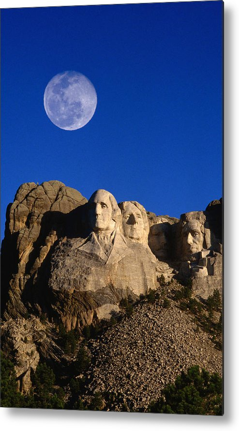 Mt Rushmore National Monument Metal Print featuring the photograph Daytime Moon Above Presidential Faces by Mark Newman