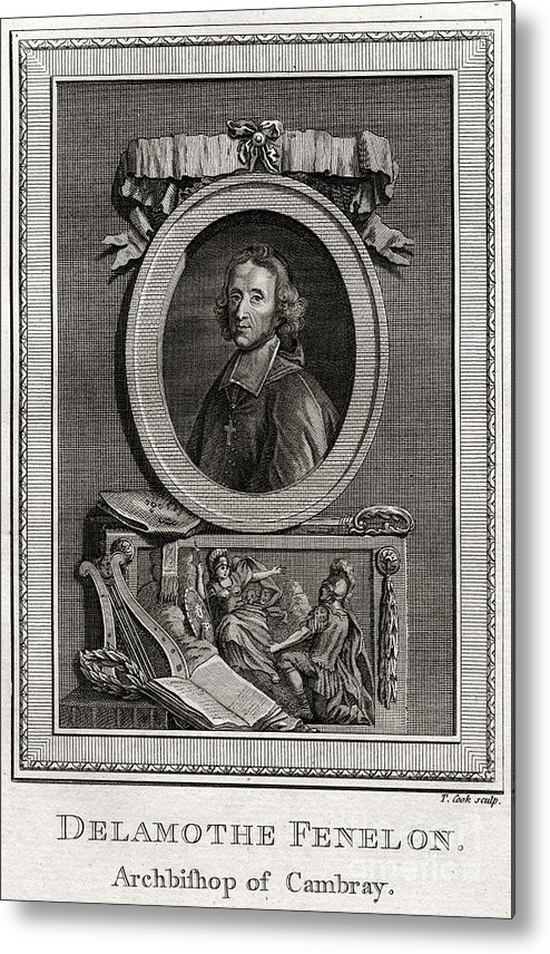 Engraving Metal Print featuring the drawing Delamothe Fenelon, 1777. Artist T Cook by Print Collector