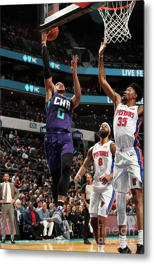Nba Pro Basketball Metal Print featuring the photograph Detroit Pistons V Charlotte Hornets by Kent Smith