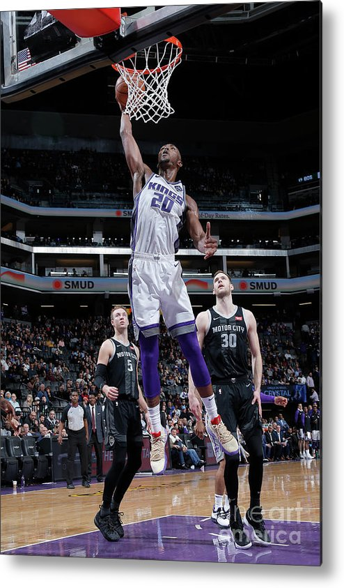 Nba Pro Basketball Metal Print featuring the photograph Detroit Pistons V Sacramento Kings by Rocky Widner