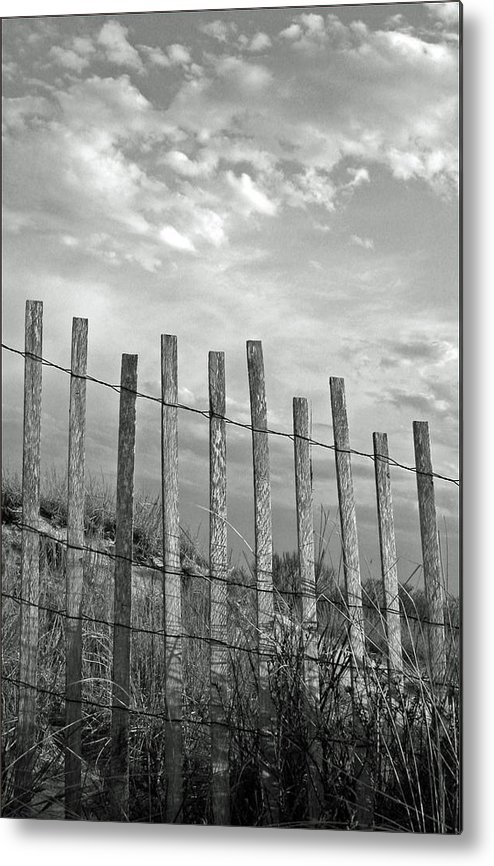 Tranquility Metal Print featuring the photograph Fence At Jones Beach State Park. New by Gary Koutsoubis