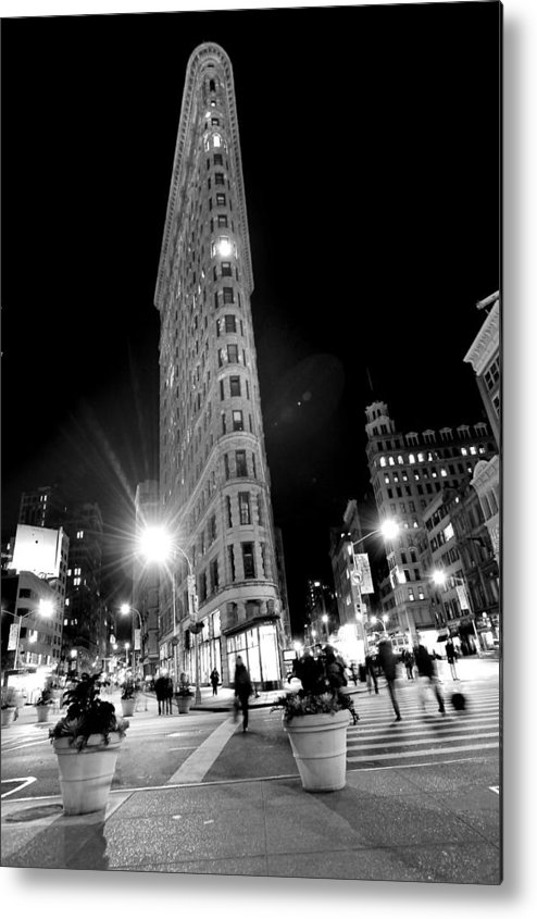Vertical Metal Print featuring the photograph Flat Iron Building In New York by Stephen Albanese