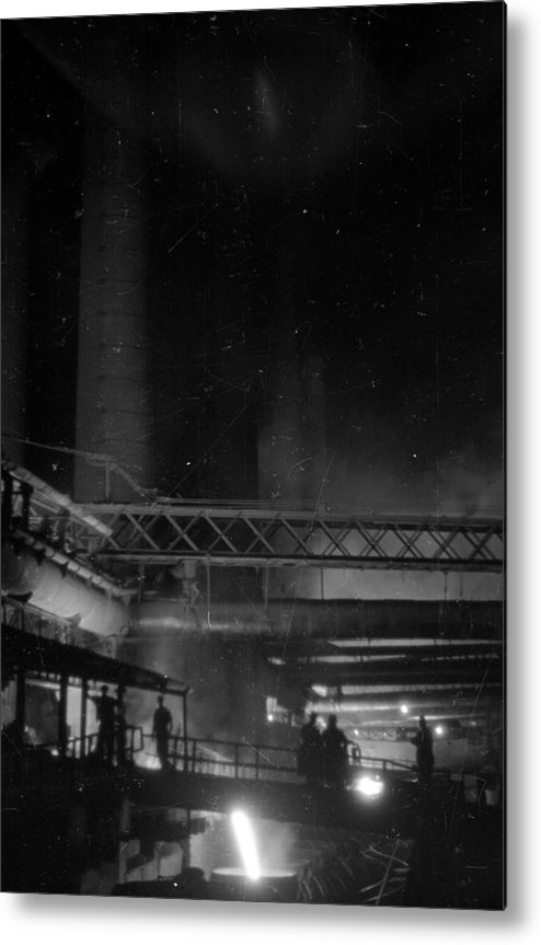 Working Metal Print featuring the photograph Furnaces By Night by Felix Man