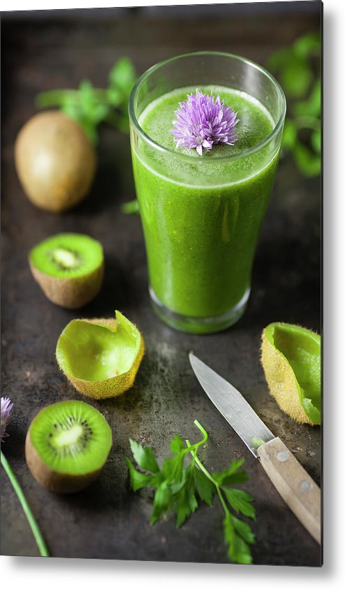 Cutting Board Metal Print featuring the photograph Glass Of Smoothie With Kiwi, Parsley by Westend61